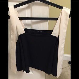 Zara B & White Crop Top size M